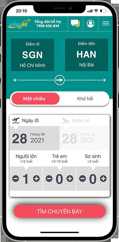 app dat ve may bay vinajet travel